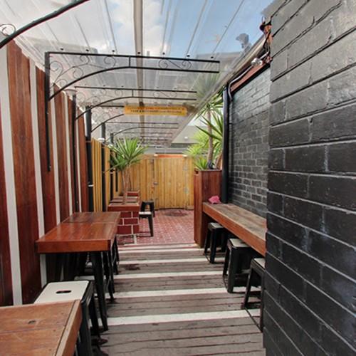 Two hands beer garden venue